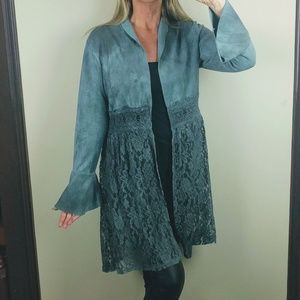 Faux suede green jacket lace bell sleeves teal